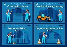 ingeniería de construcción, conjunto de páginas de destino planas vector