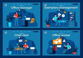 Office management, flat landing pages set
