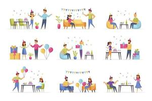 Party scenes bundle with people