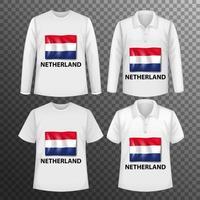 Conjunto de diferentes camisas masculinas con pantalla de bandera de Holanda en camisas aisladas