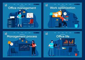 Office life, flat landing pages set