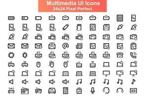 conjunto de iconos de interfaz de usuario, cuadrícula de 24 x 24 vector
