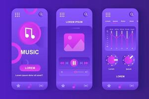Music player, unique neomorphic purple design kit vector