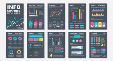 Infographic brochures, data visualization design template vector
