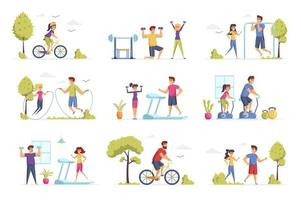 Fitness scenes bundle with people