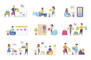 Shopping scenes bundle with people characters vector