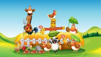 escena de la granja con estilo de dibujos animados de granja de animales