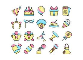 Set  of Birthday Party Icons