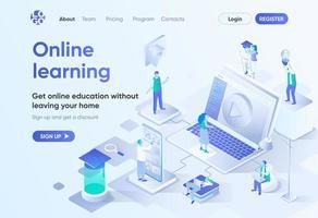 página de inicio isométrica de aprendizaje en línea vector