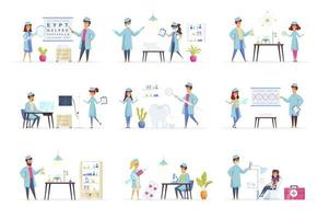 Medicine scenes bundle with people characters