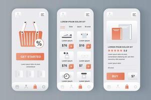 compras en línea, kit de diseño neomórfico único vector