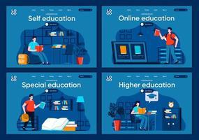 educación en línea, conjunto de páginas de destino planas vector