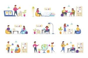 Education scenes bundle with people characters
