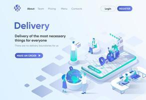 servicio de entrega, página de inicio isométrica vector
