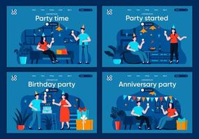 Party time, flat landing pages set