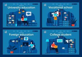 educación universitaria, conjunto de páginas de destino planas vector