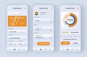 banca en línea, kit de diseño neomórfico único vector