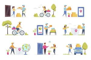 Delivery scenes bundle with people