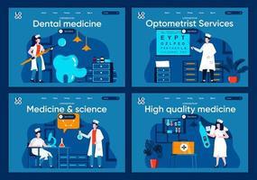 medicina y ciencia, conjunto de páginas de destino planas. vector