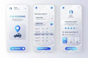 Car booking, unique neomorphic design kit