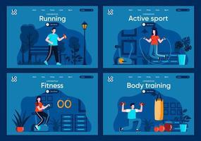 Active sport, flat landing pages set