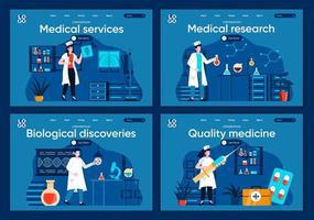 servicios médicos, conjunto de páginas de destino planas. vector