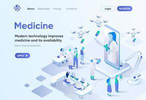 medicina moderna, página de inicio isométrica vector