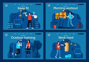 Outdoor training, flat landing pages set