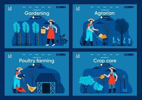 Natural farming, flat landing pages set