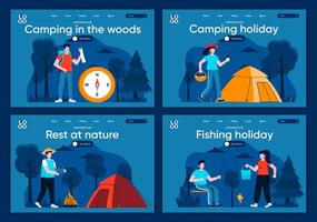 Camping in the woods, flat landing pages set
