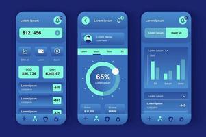 servicios financieros, kit de diseño neomórfico único vector
