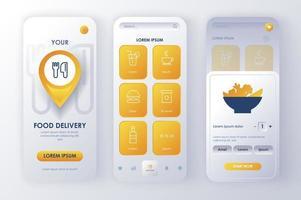 Delivery food, unique neomorphic design kit vector