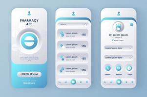Online medicine, unique neomorphic design kit vector