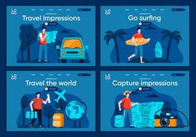 Travel the world, flat landing pages set vector