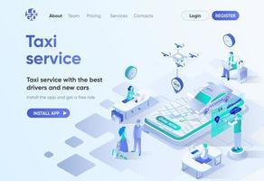 página de inicio isométrica del servicio de taxi vector