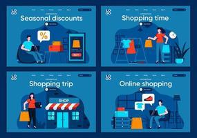 tiempo de compras, conjunto de páginas de destino planas. vector
