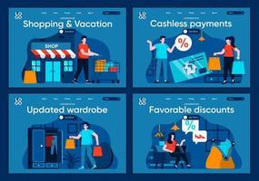 compras y vacaciones, conjunto de páginas de destino planas. vector