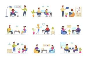 Coworking office bundle with people characters