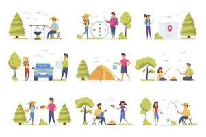 Camping scenes, bundle with people characters