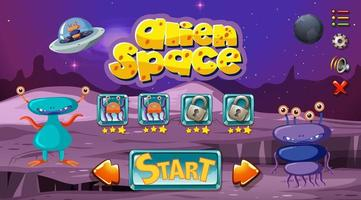 Monster space game template vector