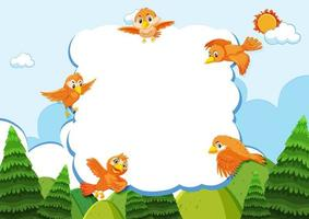 Happy birds in nature background frame vector