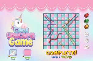 Cool unicorn board game template vector