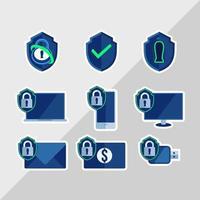 paquete de pegatinas del día de la seguridad cibernética vector