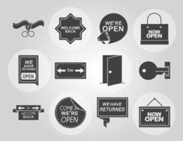 letreros y tableros para la colección de apertura de negocios vector