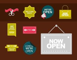 Signs and boards for business opening collection vector