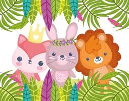 Cute little animals outdoors vector