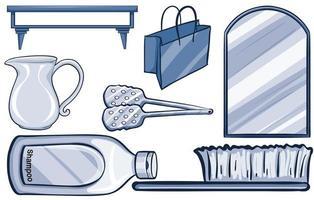 artículos domésticos aislados en azul vector