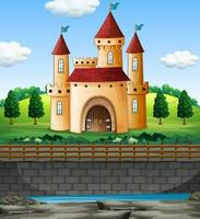 Scene with castle in on the wall vector