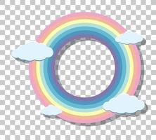 Marco de anillo de arco iris pastel aislado sobre fondo transparente