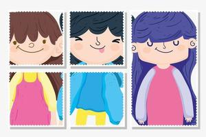 Cute girls and boy cartoon characters vector